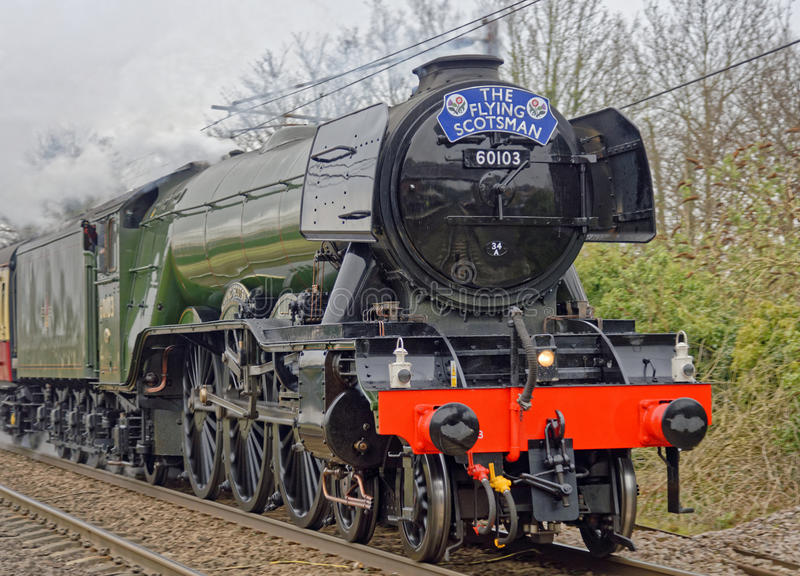 The flying scotsman. Passes through welwyn north Station on February 25, 2016 in hertfordshire, England. , built in 1923, left King's Cross Station for York royalty free stock images