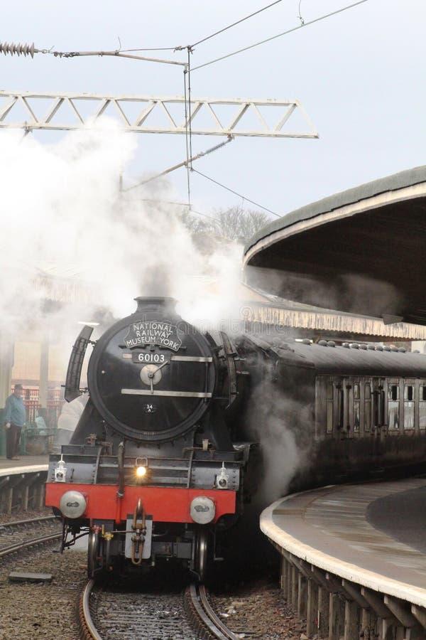 Free Flying Scotsman Steam Locomotive On Mainline Test Stock Photo - 66151010
