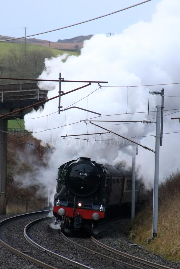 Flying Scotsman steam train, West Coast Main Line. 60103 the Flying Scotsman preserved steam train hauling the Flying Scotsman Christmas Dalesman special train royalty free stock images