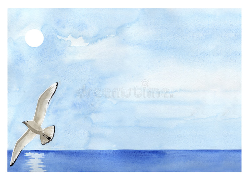 Flying sea gull painting. An hand painted watercolor: sea gull flying over the sea stock illustration