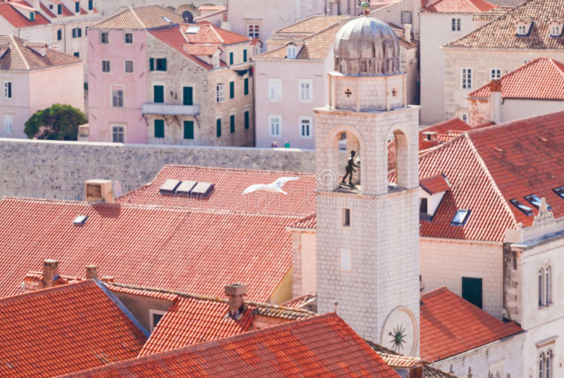 Flying seagull on the background of blurred Dubrovnik old city center. Aerial view. stock image