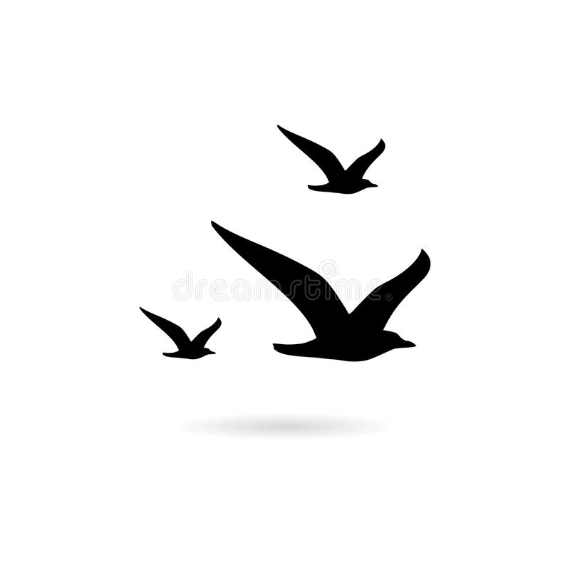 Free Flying Seagull Bird Black Silhouette Isolated On White Background Royalty Free Stock Image - 157313316
