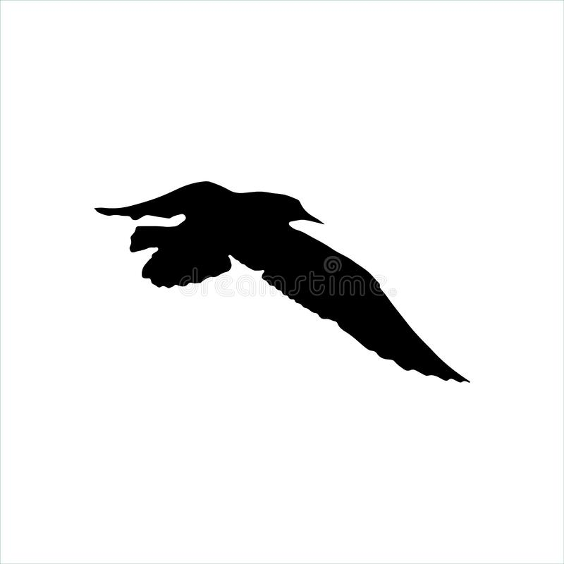 Free Flying Seagull Bird Black Silhouette Isolated On White Background Royalty Free Stock Photos - 89156048