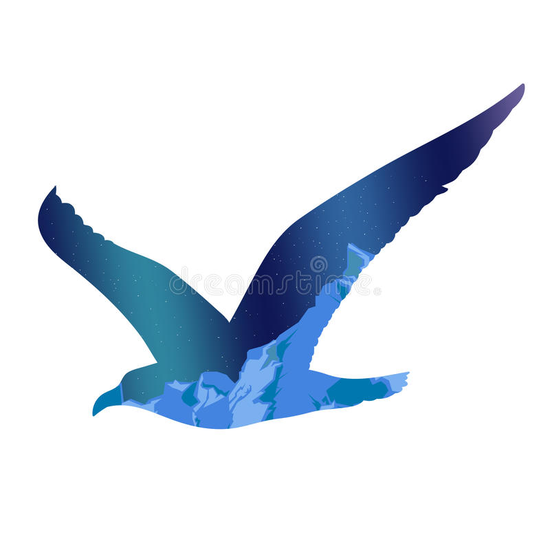 Flying Seagull Silhouette Concept royalty free illustration