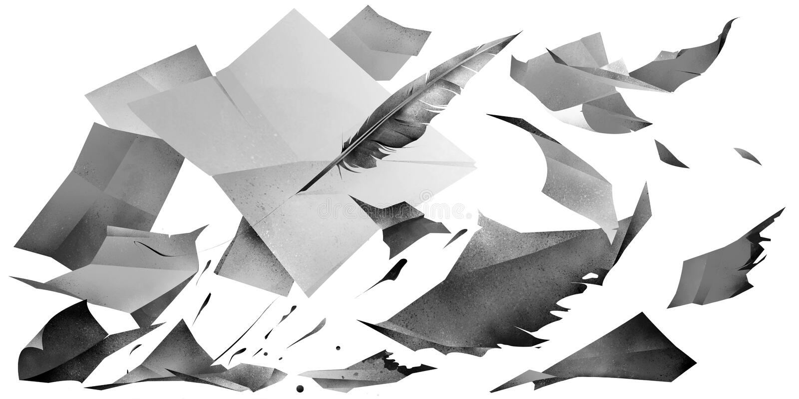 Drawn flying sheets of paper with a feather on a white background stock photos