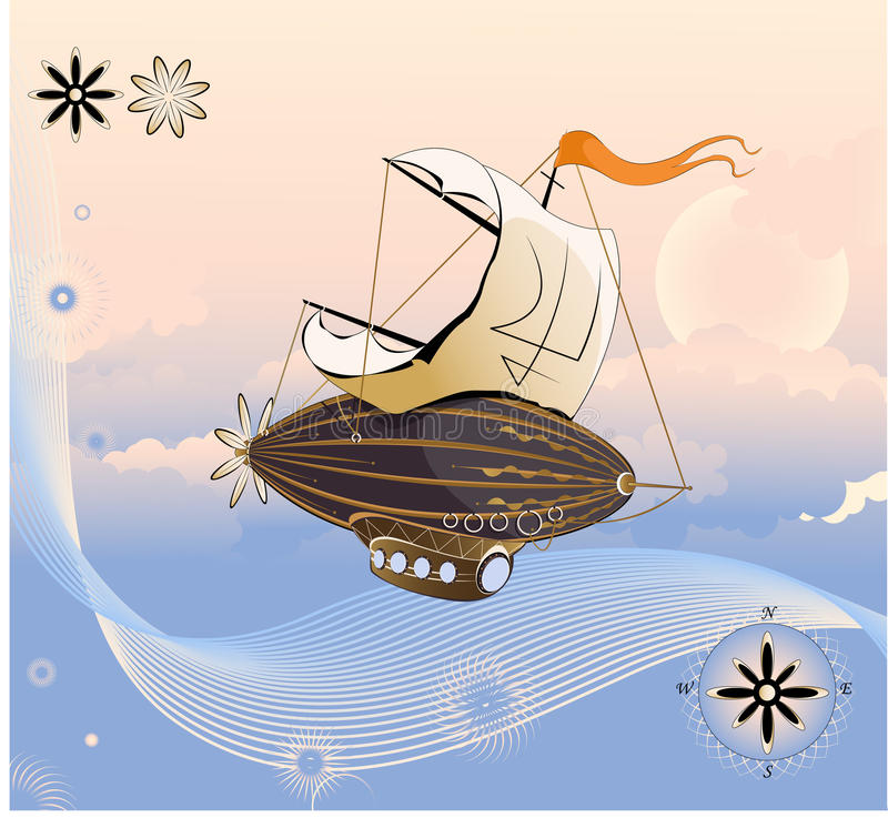 Flying ship. Flying ship in the cloudy sky. Vector illustration royalty free illustration