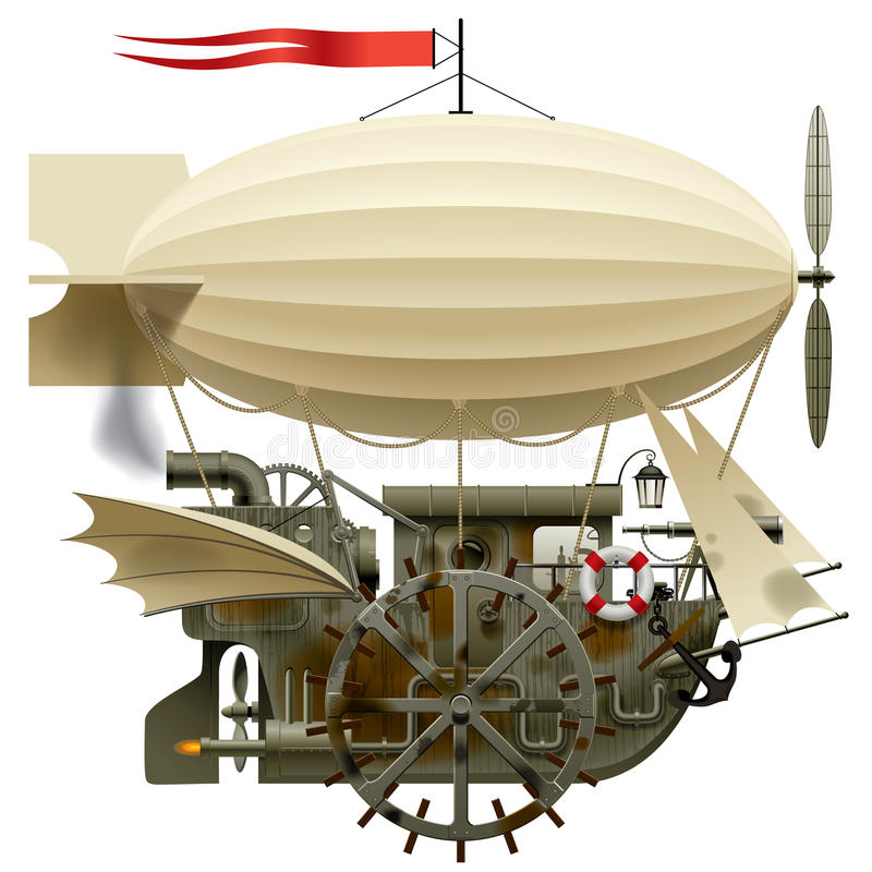 Flying Ship royalty free illustration
