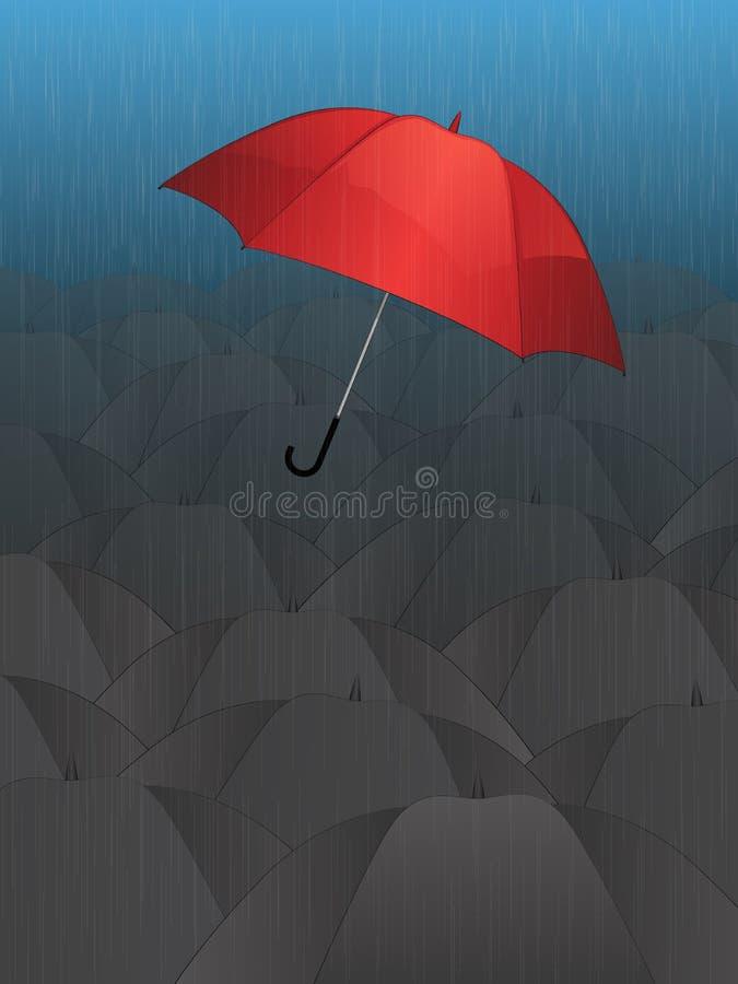 Flying Single Red Umbrella stock photos