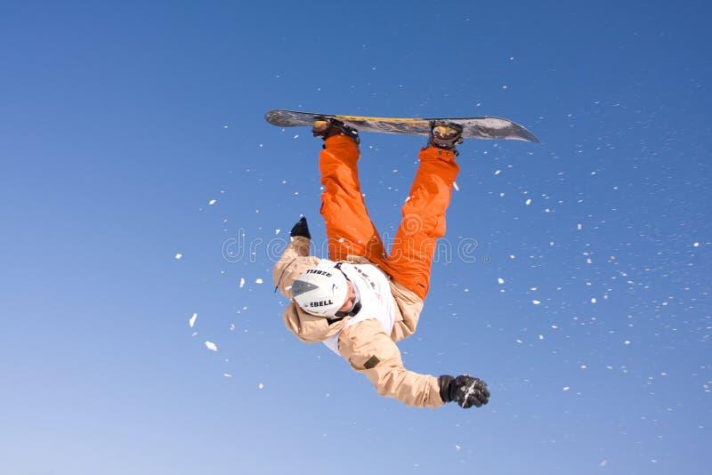 Flying snowborder royalty free stock photo