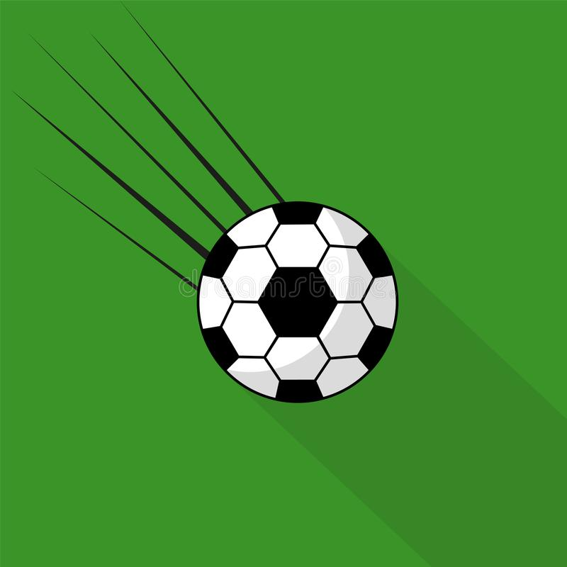 A flying soccer ball on a green background with a long shadow. stock illustration