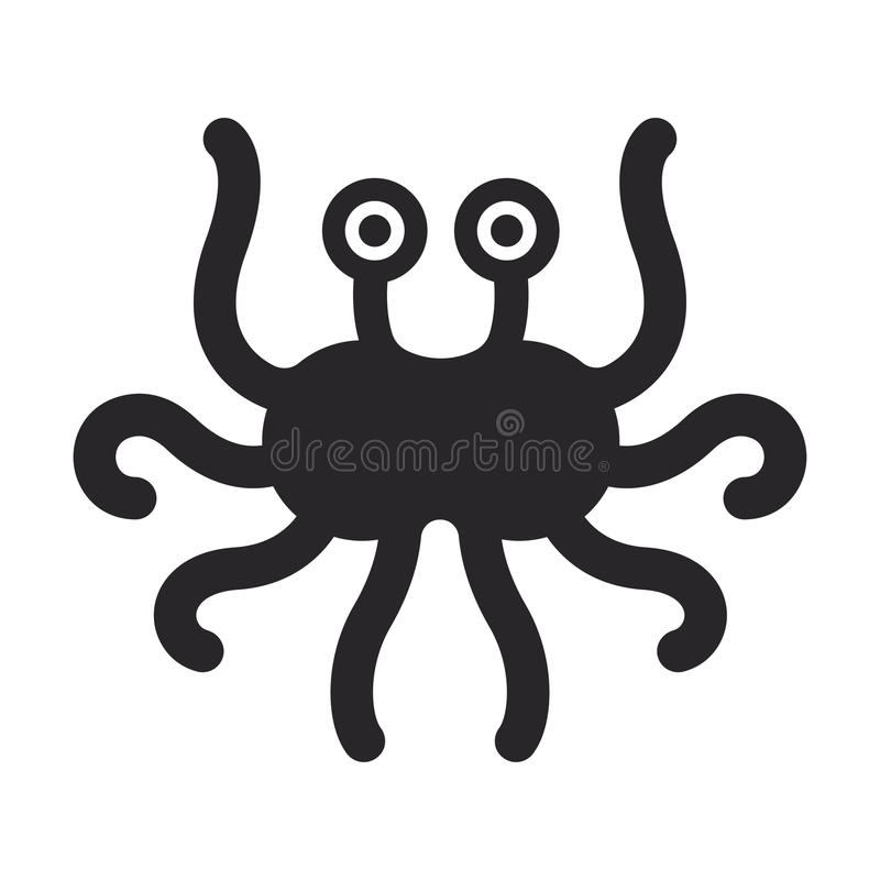 Flying spaghetti monster. Atheism symbol. Black minimalistic vector logo vector illustration