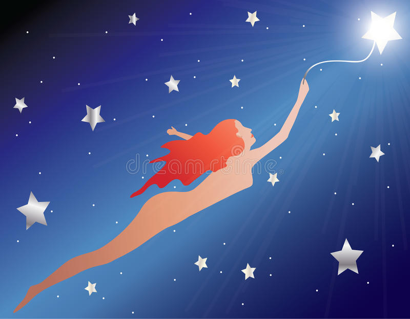 Flying With a Star. Woman silhouette being carried by a star in the darkness of the universe royalty free illustration
