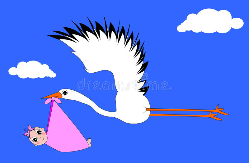 Download Stork stock vector. Image of child, letter, illustration - 30305682