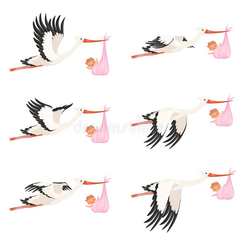 Flying stork frame animation. Bird delivery newborn baby carry vector cartoon characters isolated stock illustration
