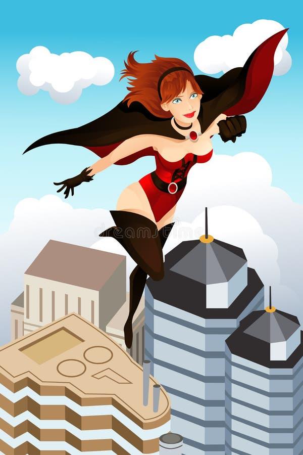 Flying super hero royalty free illustration