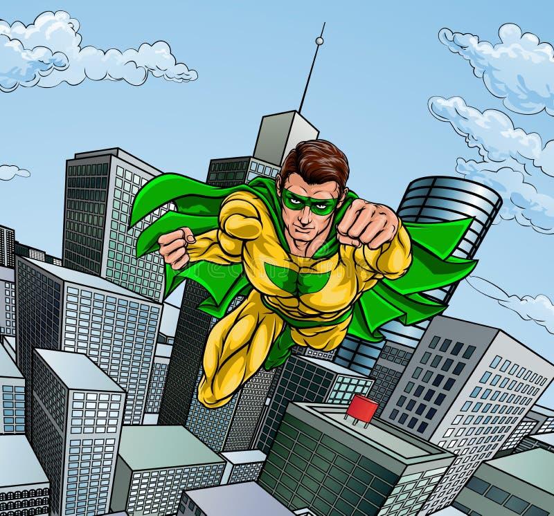 Flying Superhero City Scene stock photos
