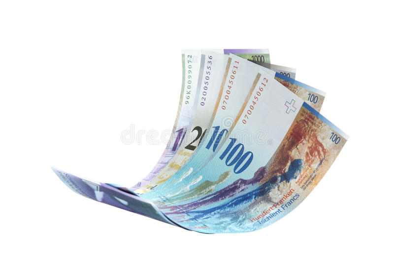 Flying Swiss Franc note stock photo