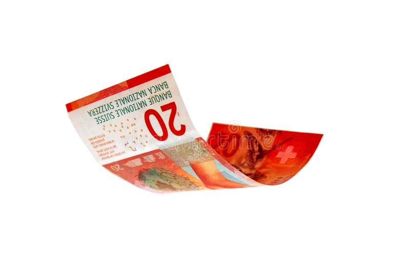 Flying Swiss money royalty free stock image