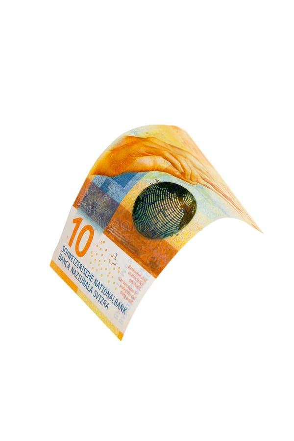 Flying Swiss money stock photo