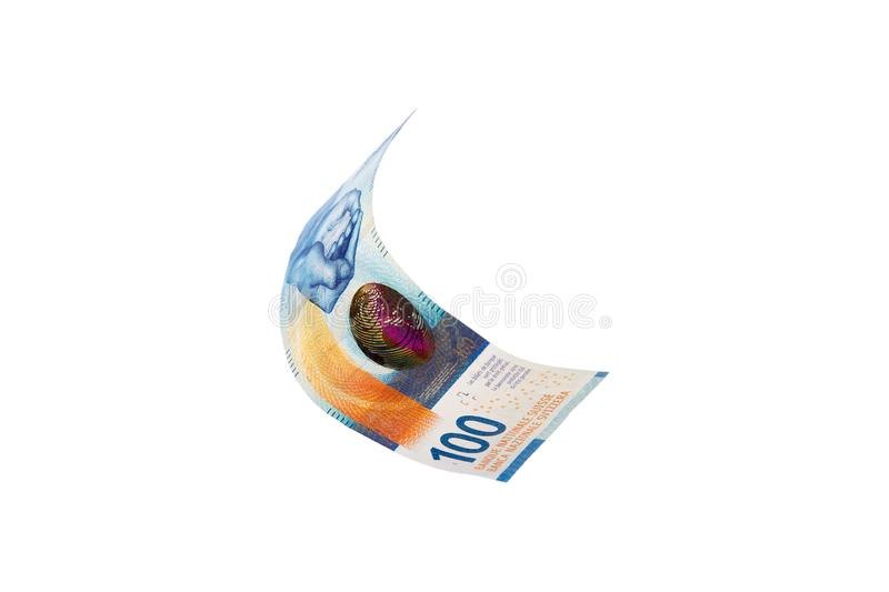 Flying Swiss money - the new issue of ten francs note, isolated stock photos