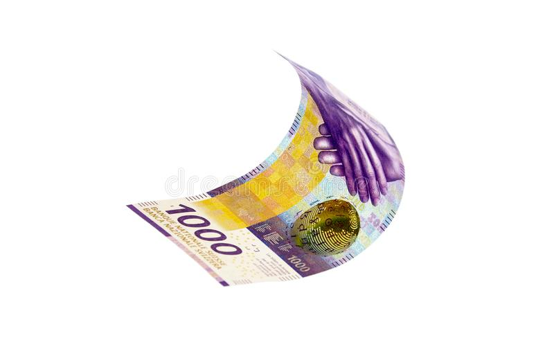 Flying Swiss money - the 1000 note stock photo