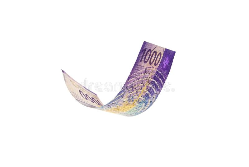 Flying Swiss money - the 1000 note royalty free stock photography