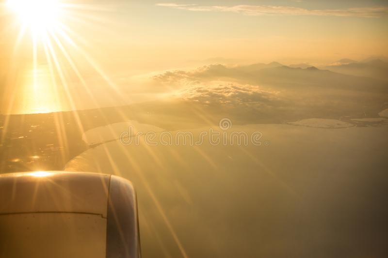 Flying and traveling, view from airplane window on the wing stock images