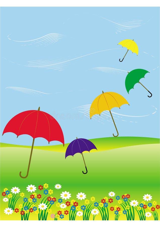 Flying umbrellas royalty free stock image