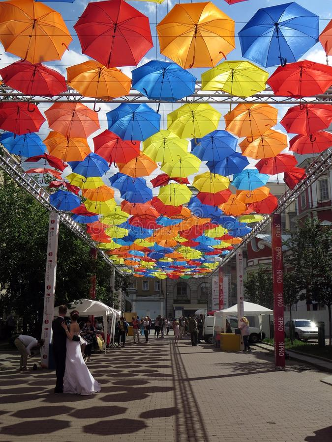 Flying Umbrellas Alley royalty free stock photo