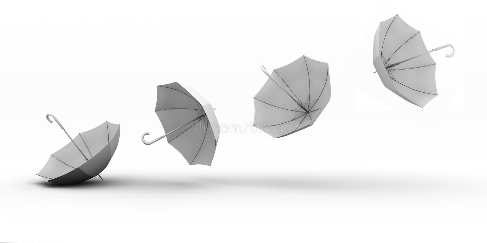 Flying umbrellas on a white background stock illustration