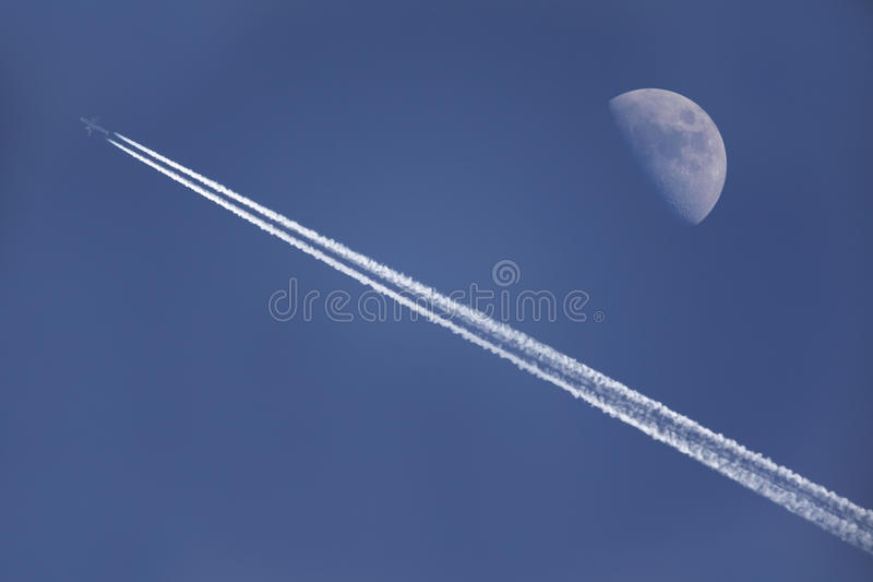 Download Flying under the moon stock image. Image of plane, trail - 9686399