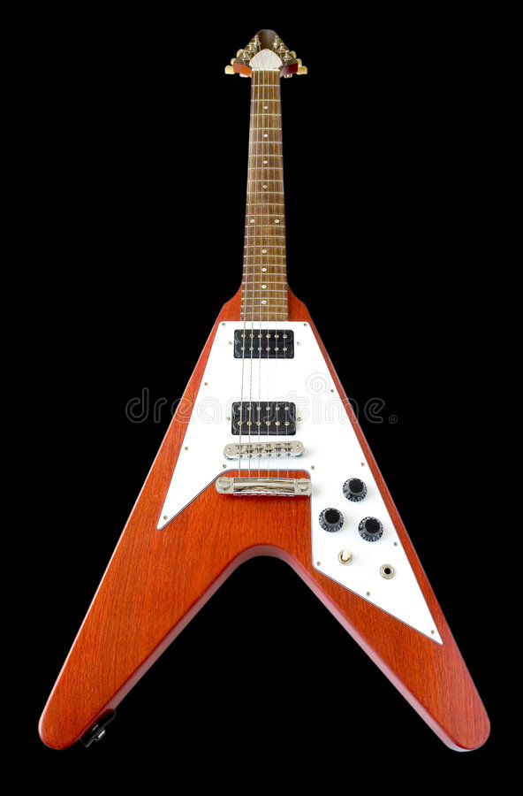 Flying V Guitar (+clipping path) stock images