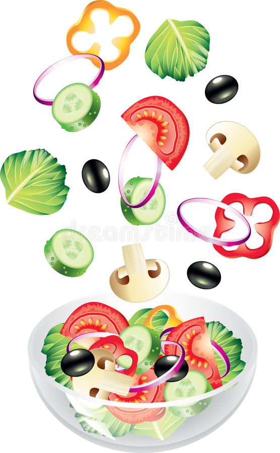 Flying Vegetables And Salad Isolated On White Stock Photos