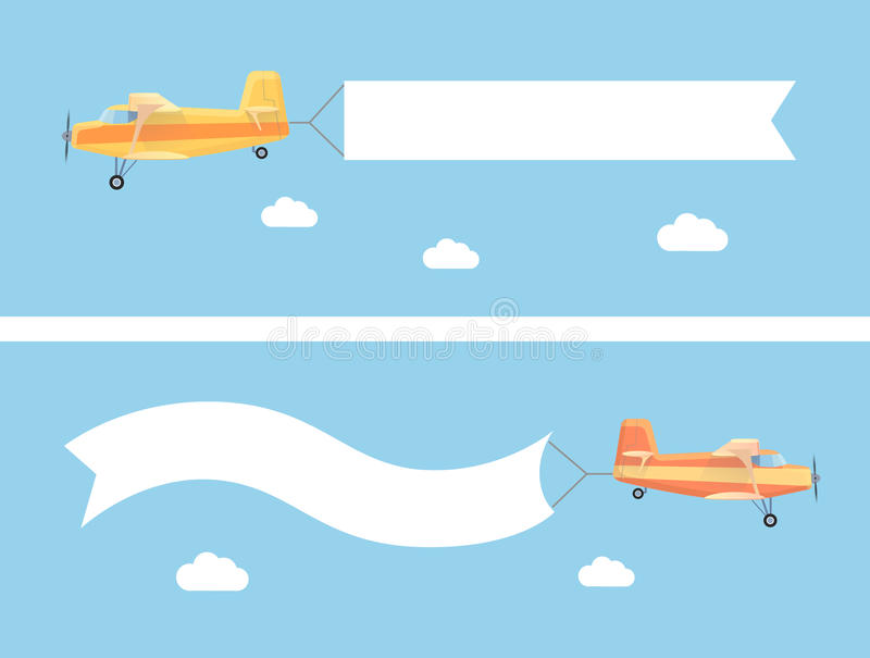 Download Flying Vintage Plane With The Advertising Banner Stock Vector