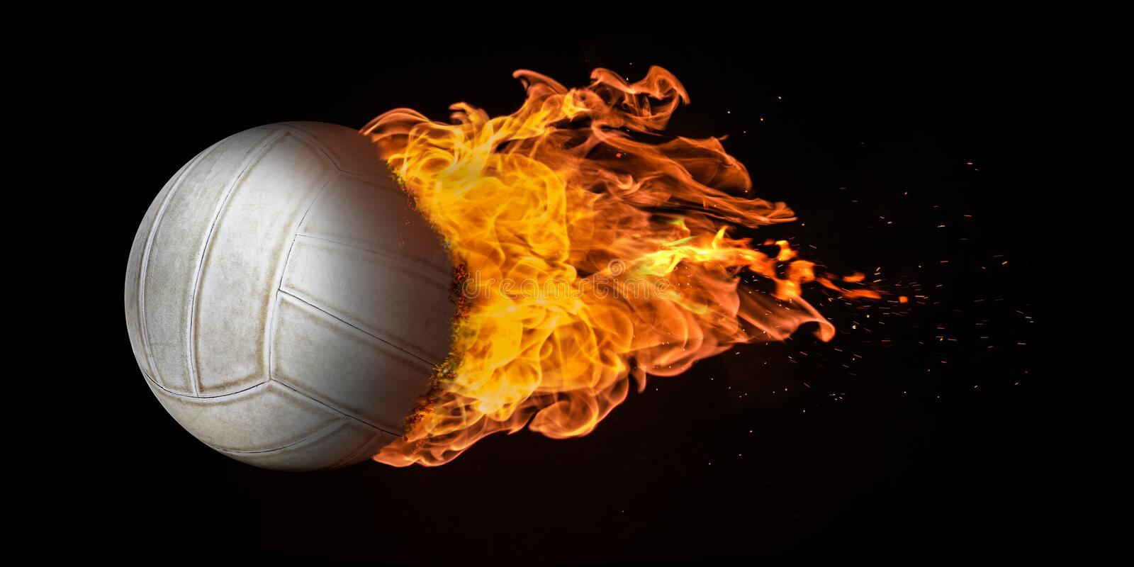 Flying Volleyball Engulfed in Flames stock photos