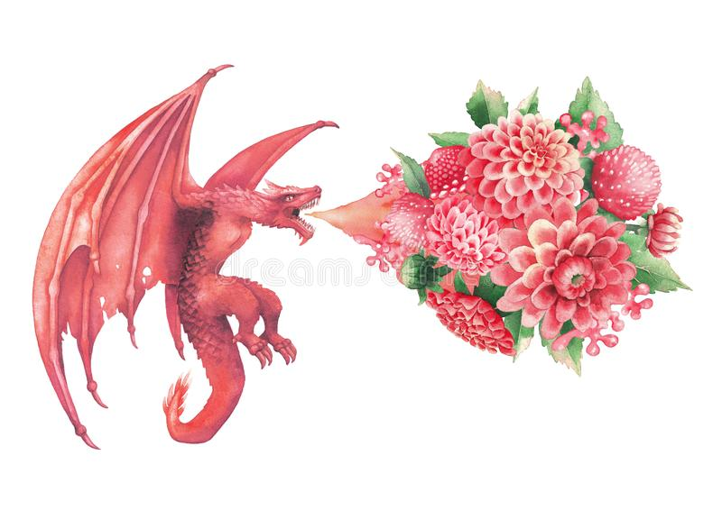 Flying watercolor dragon exhales the flame of flowers. royalty free illustration