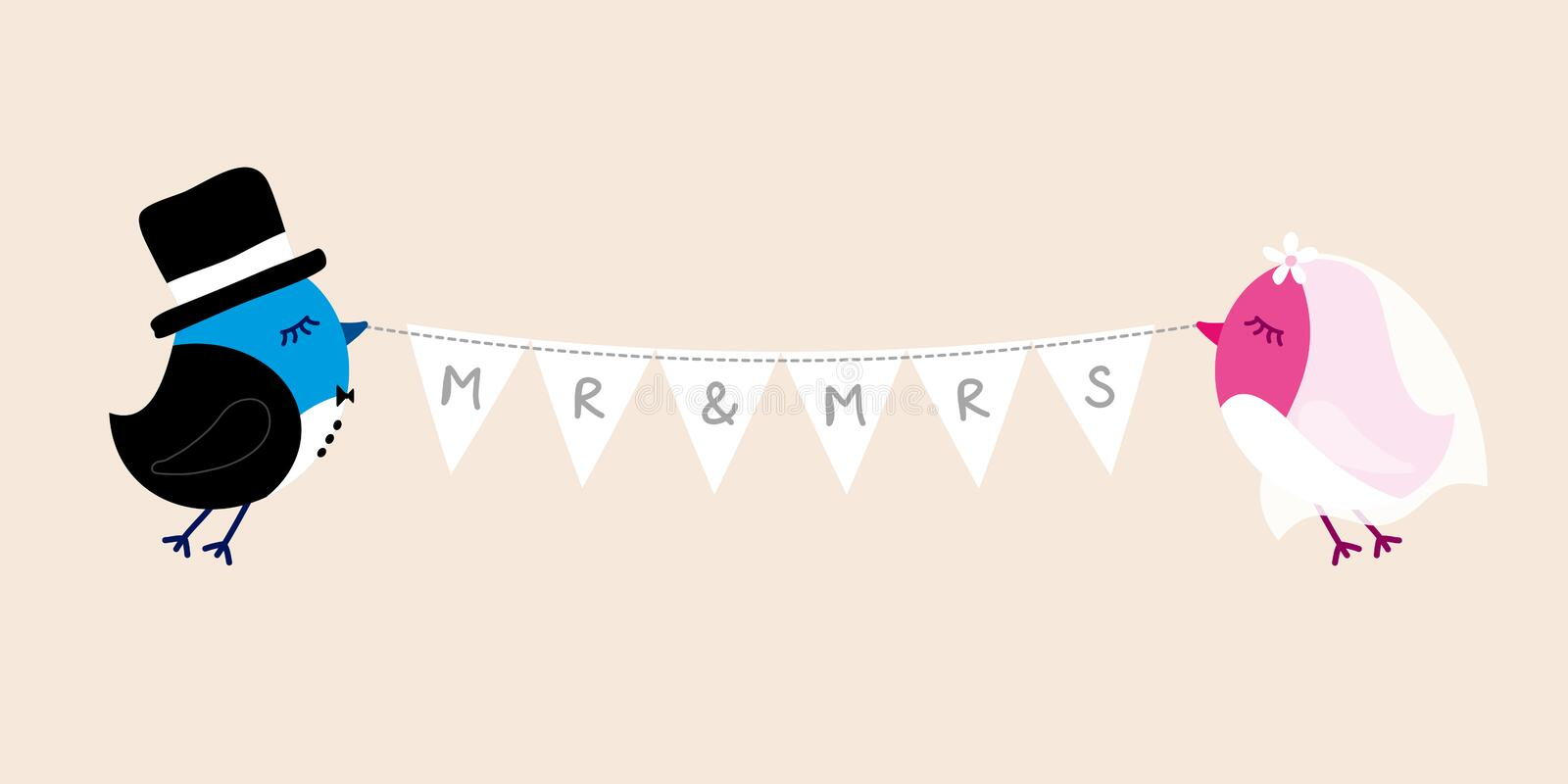 Flying Wedding Birds Groom And Bride Holding Bunting MRS MR stock illustration
