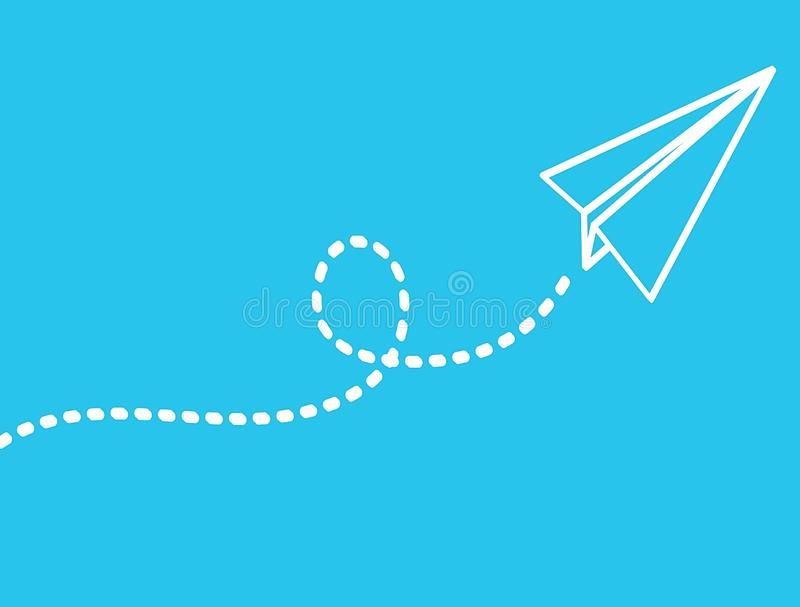 Flying white airplane on Blue background. Illustration royalty free stock photos