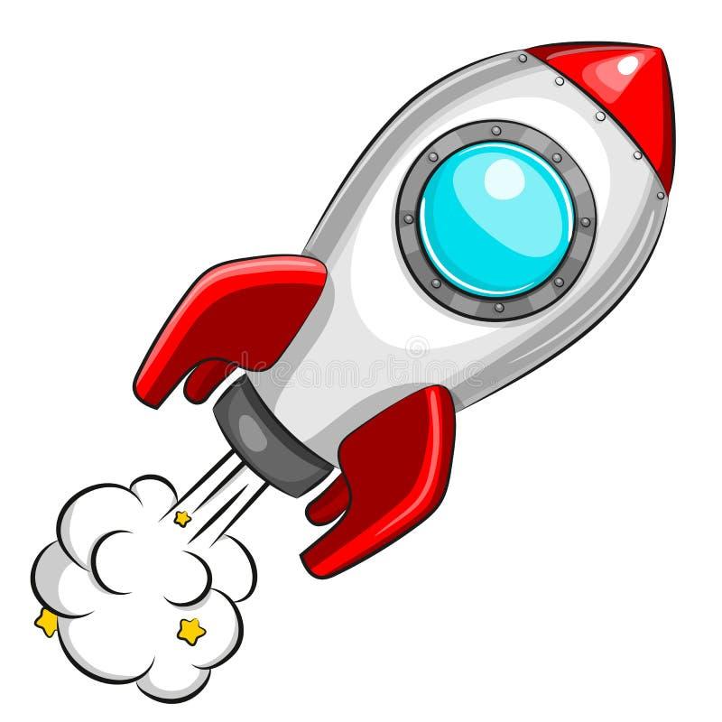 Flying white rocket on white background royalty free illustration