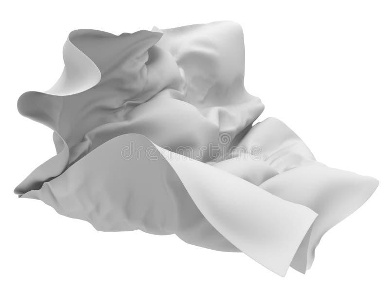 Flying white silk fabric with folds. 3d render illustration vector illustration