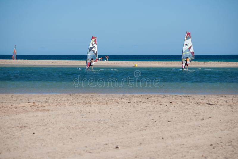 Fuerteventura, windsurf school at Sotavento beach lagoon.. stock image