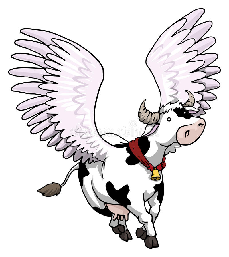 Flying winged cow royalty free illustration
