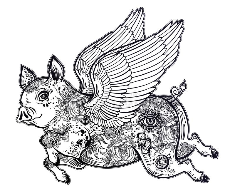 Flying winged pig. Tattoo artwork of a piglet with body decorated in flash tattoos with wings. vector illustration