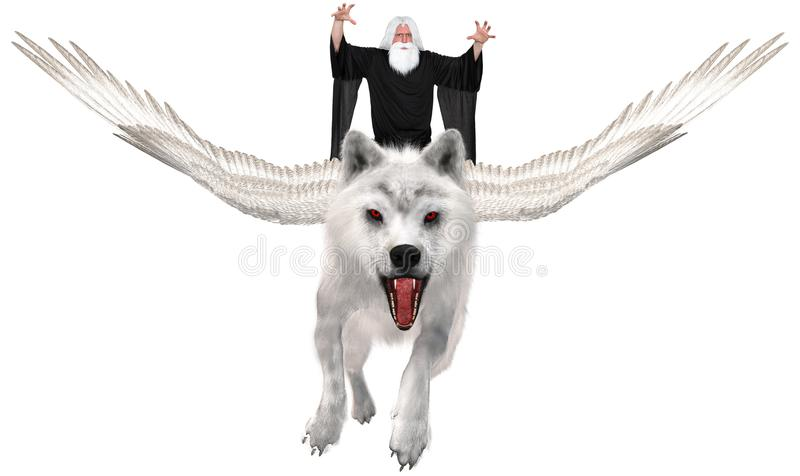 Flying Wolf, Wizard, Magic, Isolated. A flying white wolf with wings is flying through the air with an evil wizard or sorcerer. Isolated on white, PNG file stock photo
