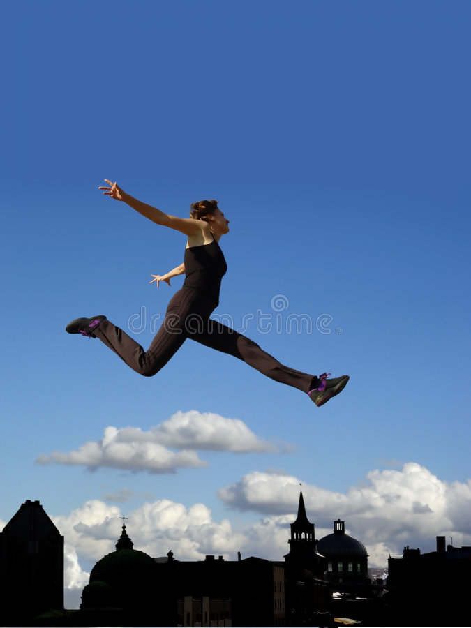 Flying woman royalty free stock photo