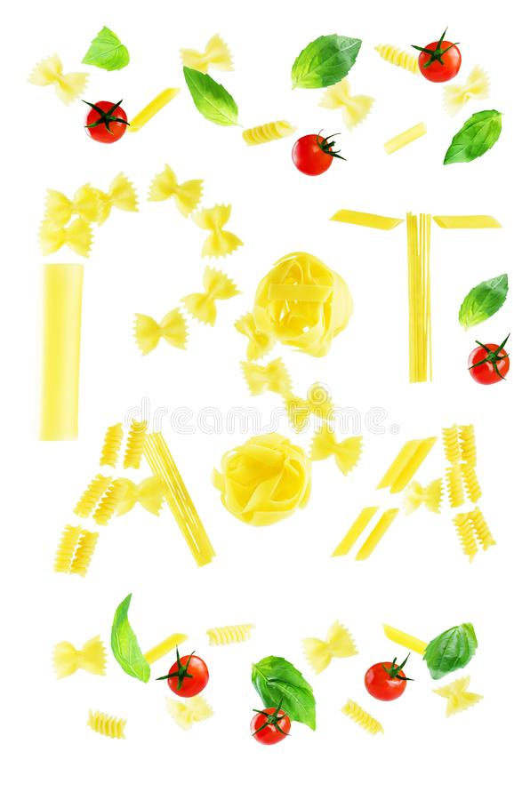 Flying Word Pasta is written from pasta with Basil and tomatoes royalty free stock photography