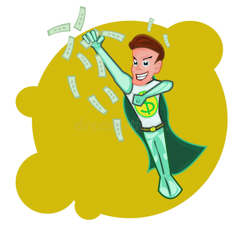 Flyingsuperhero-Geschäftsmann-Karikaturvektor lizenzfreie stockfotografie