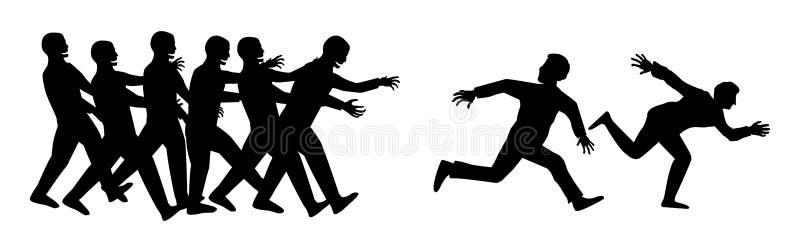 Flykt för konturmänniskakörning från levande dödgruppen royaltyfri illustrationer