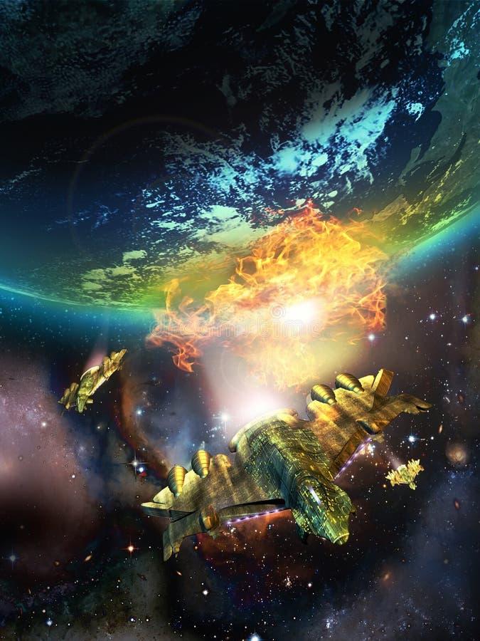 Flykt från apokalyps stock illustrationer