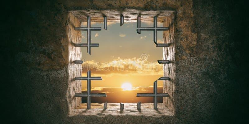 Flykt frihet Fängsla, fängsla fönstret med snittstänger, solnedgången, soluppgångsikt illustration 3d royaltyfri foto